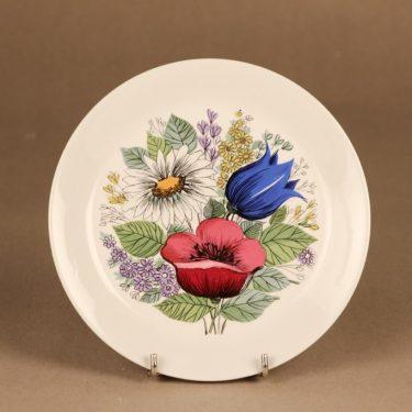 Arabia Valmu lautanen, monivärinen, suunnittelija Esteri Tomula, serikuva, kukka