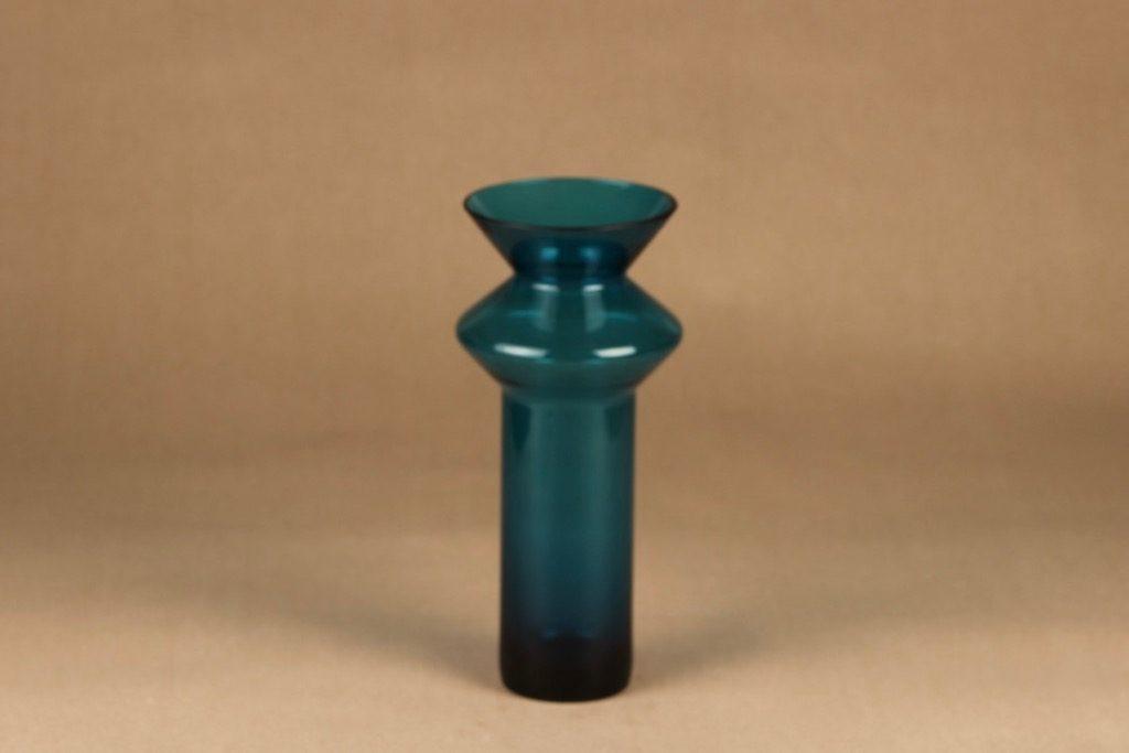 Riihimäen lasi Hyrrä vase, turquoise designer Helena Tynell