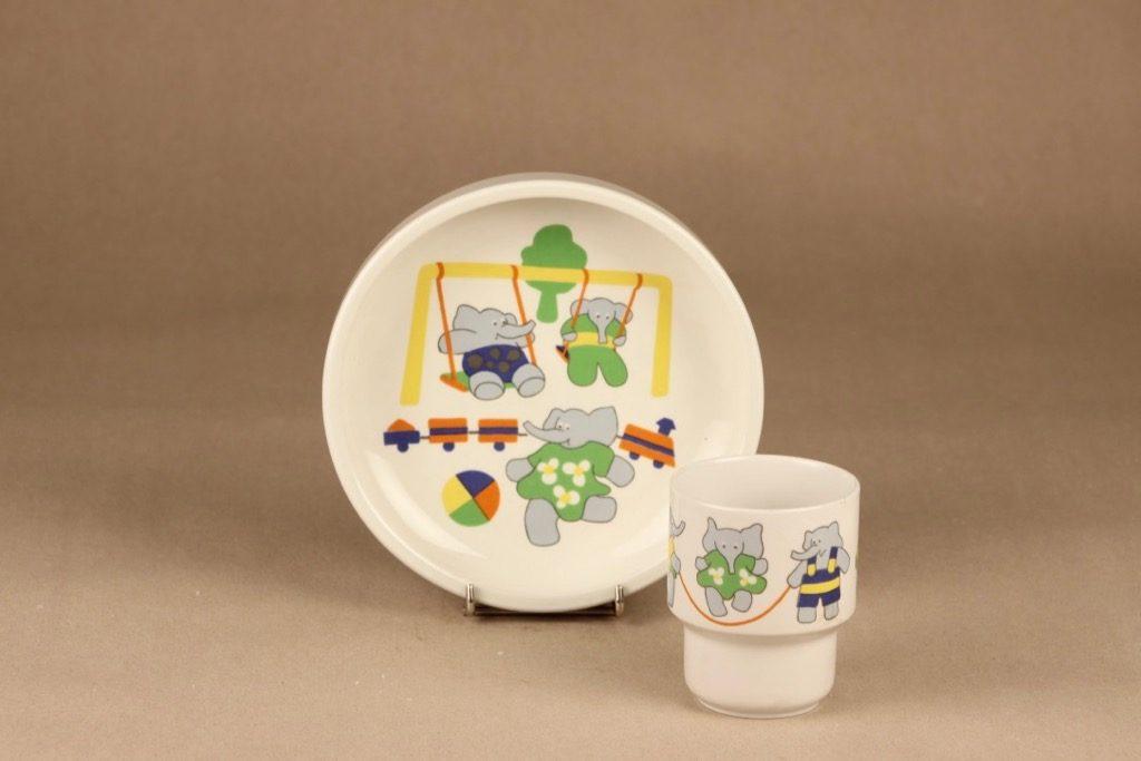 Arabia Elefantti child plate and mug designer Inkeri Leivo