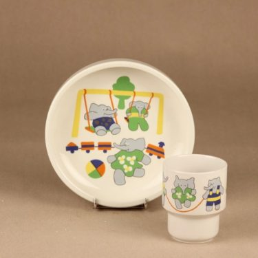 Arabia Elefantti child plate and mug designer Inkeri Leivo