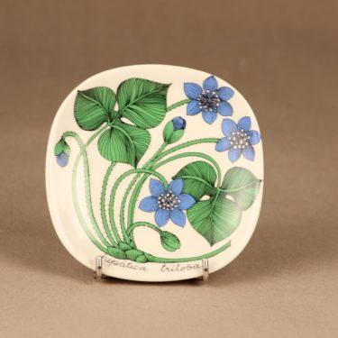 Arabia Botanica koristelautanen, Sinivuokko, suunnittelija Esteri Tomula, Sinivuokko, kukka, hepatica triloba