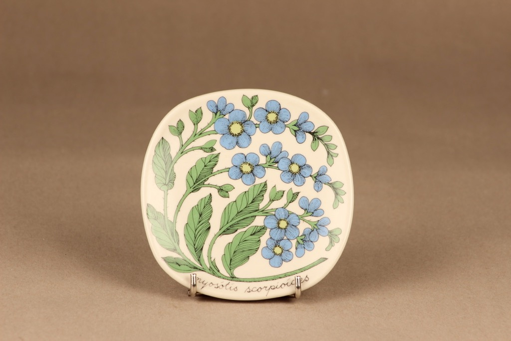 Arabia Botanica koristelautanen, Luhtalemmikki, suunnittelija Esteri Tomula, Luhtalemmikki, kukka, myosotis scorpioides