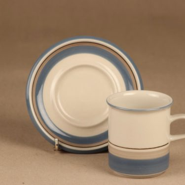 Arabia Uhtua kahvikuppi, sininen, suunnittelija Inkeri Leivo, raitakoriste kuva 2