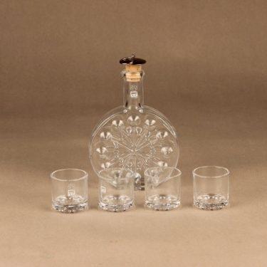 Riihimäen lasi Lumitähti caraffe 20 cl ja glass (4) designer Nanny Still