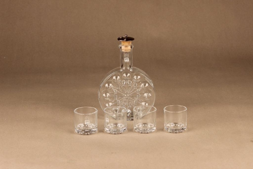 Riihimäen lasi Lumitähti Karahvi 20 cl ja lasit (4), kirkas, 1+4 kpl, suunnittelija Nanny Still,