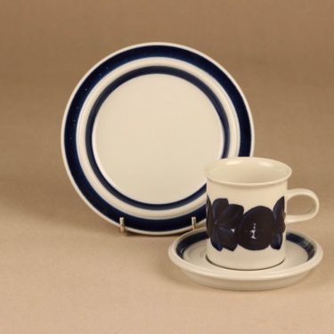 Arabia Anemone coffee cup and plates(2), handpainted designer Ulla Procope