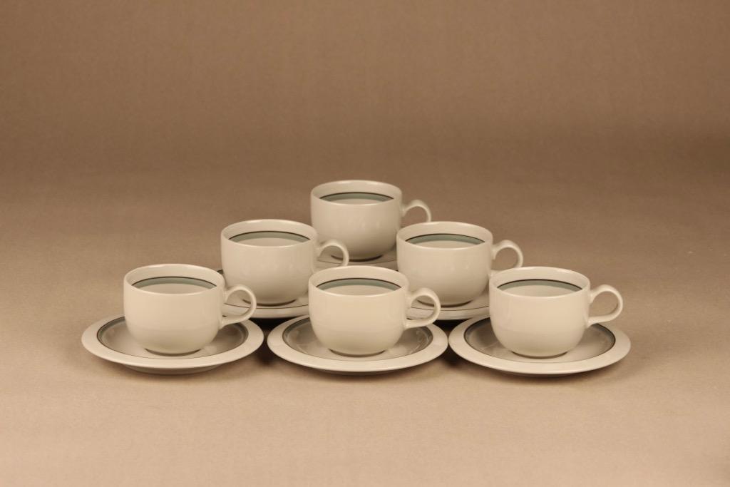 Arabia Airisto kahvikuppi, raitakoriste, 6 kpl, suunnittelija Inkeri Leivo, raitakoriste