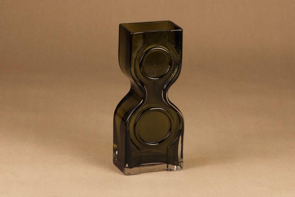 Riihimäen lasi Kaappikello maljakko, oliivinvihreä, suunnittelija Helena Tynell,