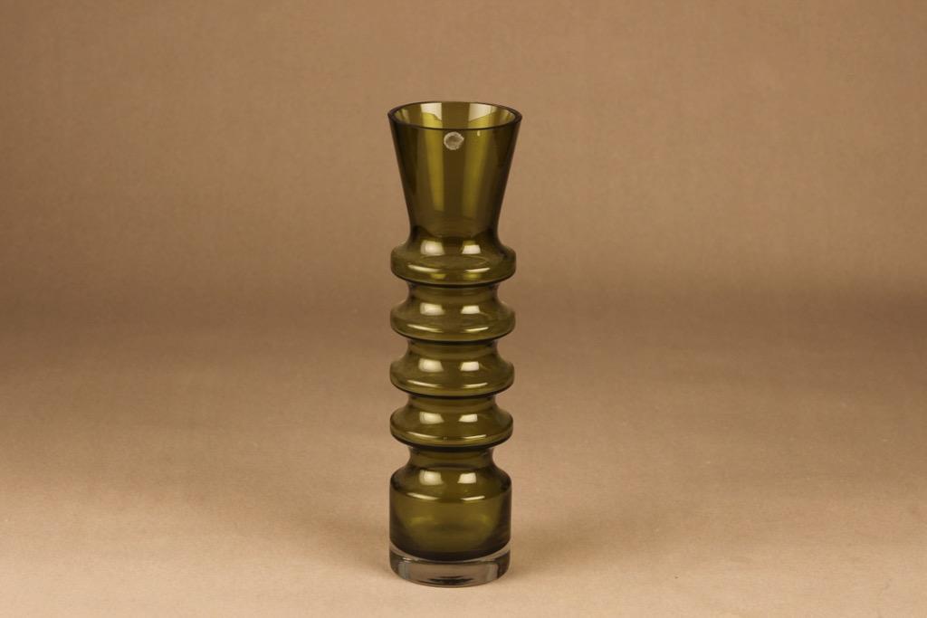 Riihimäen lasi Pagoda vase olive green designer Nanny Still