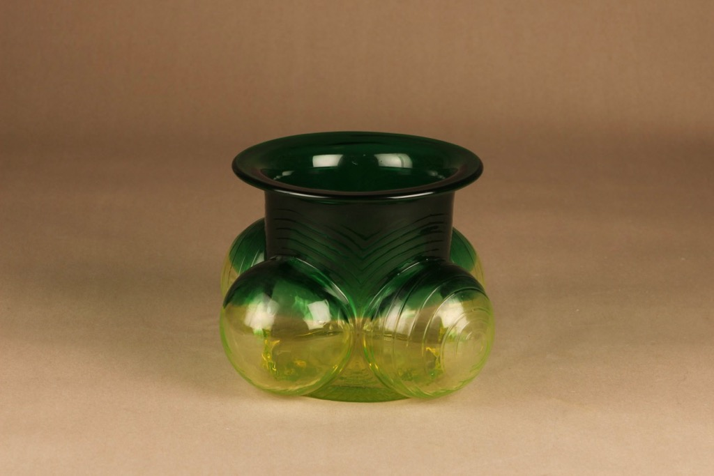 Riihimäen lasi Pajazzo maljakko, keltainen, vihreä, suunnittelija Nanny Still, retro