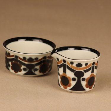 Arabia Riikka sokerikko ja kermakko, ruskea, musta, suunnittelija Anja Jaatinen-Winquist,