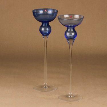 Iittala Charlotta kynttilänjalka, sininen, kirkas, 2 kpl, suunnittelija Timo Sarpaneva,
