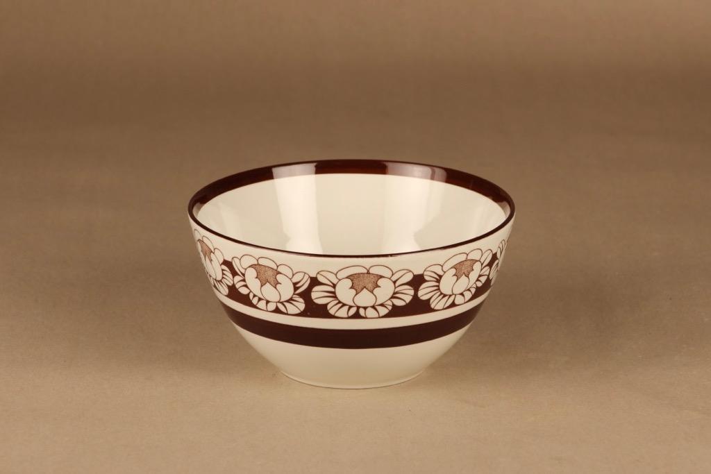 Arabia Katrilli kulho, ruskea, suunnittelija Esteri Tomula, serikuva, kukka