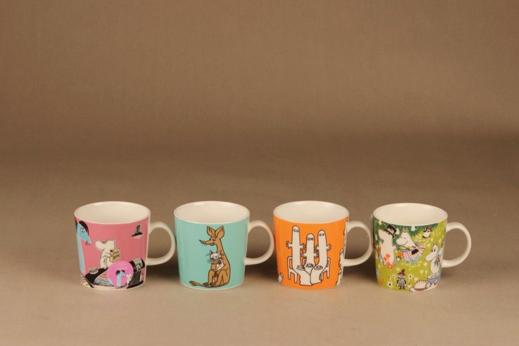 Arabia Teema Moomin mugs 4 pcs set 8 designer Tove Jansson