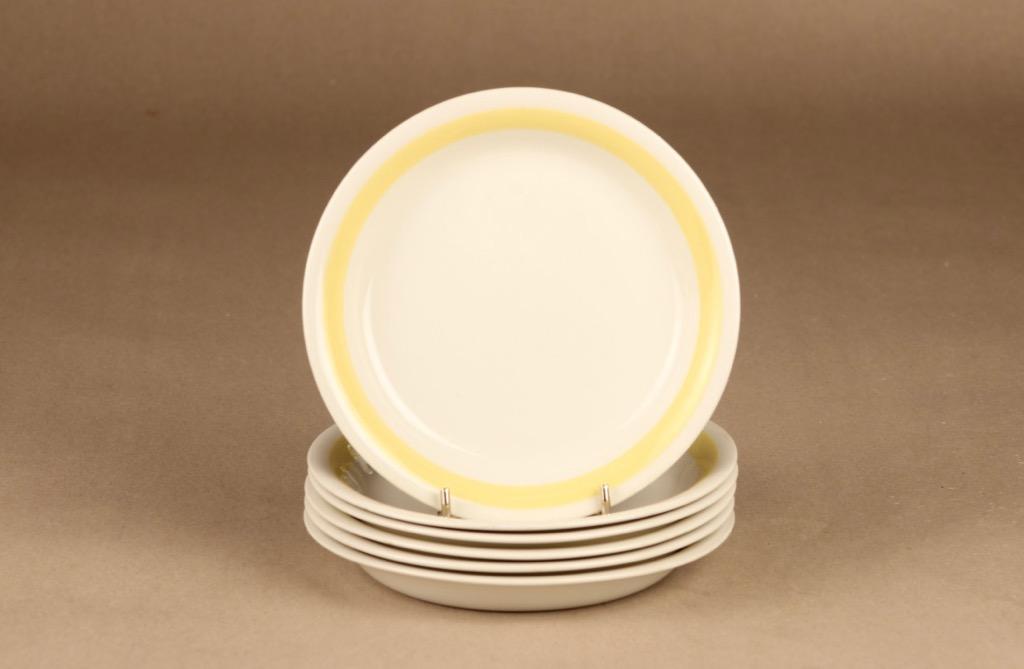 Arabia Kelta-valko lautanen, pieni, 6 kpl, suunnittelija Kurt Ekholm, pieni, raitakoriste
