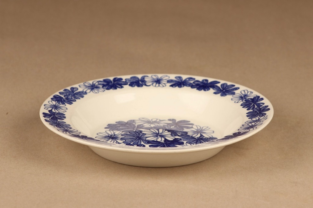 Arabia Sinikukka lautanen, syvä, suunnittelija Esteri Tomula, syvä, kukka, retro