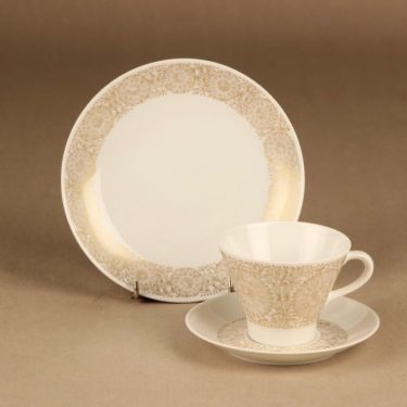Arabia Filigran coffee cup and plates(2), gold designer Raija Uosikkinen