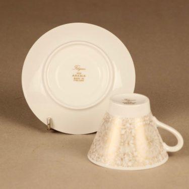 Arabia Filigran kahvikuppi ja lautaset(2), kulta, suunnittelija Raija Uosikkinen, serikuva kuva 3
