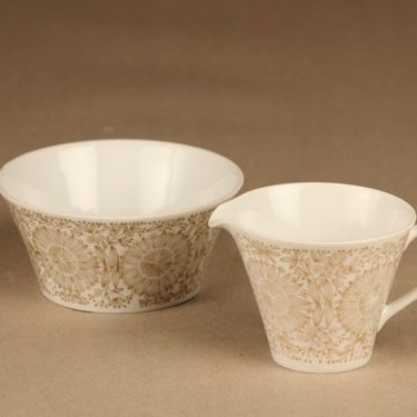 Arabia Filigran sugar bowl and creamer, gold designer Raija Uosikkinen