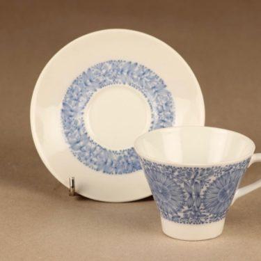 Arabia Filigran kahvikuppi ja lautaset(2), sininen, suunnittelija Raija Uosikkinen, serikuva kuva 2