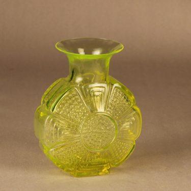 Riihimäen lasi Amuletti maljakko, keltainen, suunnittelija Tamara Aladin,