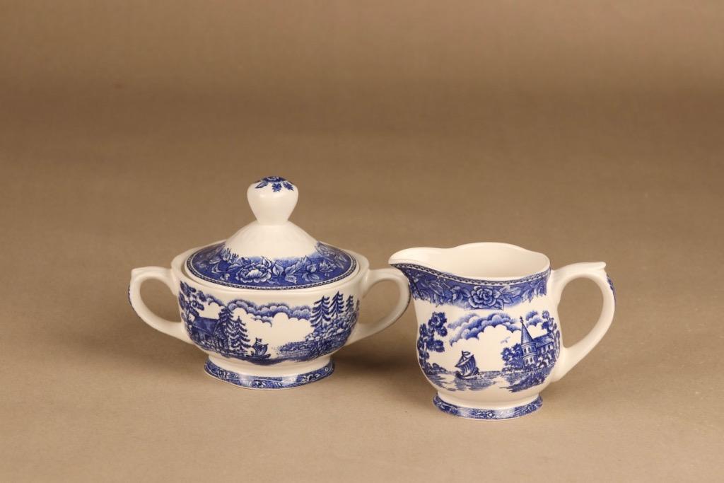 Arabia Maisema sokerikko ja kermakko, sininen, suunnittelija ,