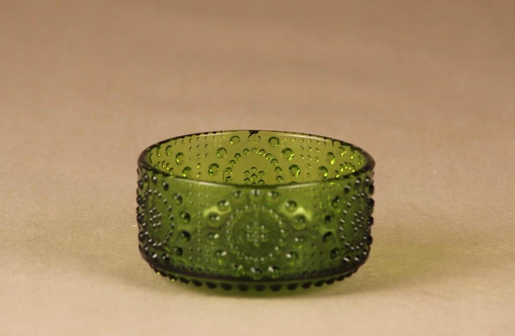 Riihimäen lasi Grapponia dessert bowl, green designer Nanny Still