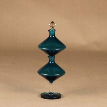 Riihimäen lasi Harlekiini etikka- ja öljykarahvi, turkoosi, suunnittelija Nanny Still, 2-osainen