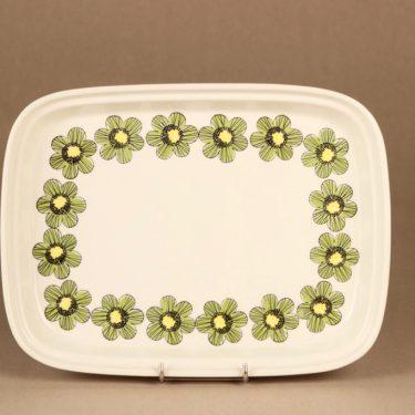 Arabia Primavera tarjoiluvati, vihreä, suunnittelija Esteri Tomula, kukka, retro