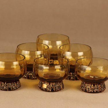 Turun Hopea/Kumela Punch glass, bronze bath, 6 pcs designer Pentti Sarpaneva