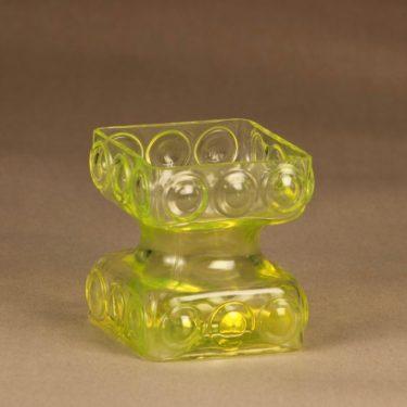 Riihimäen lasi Kehrä kääntömaljakko, keltainen, suunnittelija Tamara Aladin,