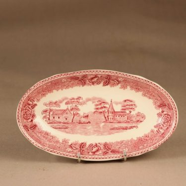 Arabia Maisema herring plate, red designer unknown