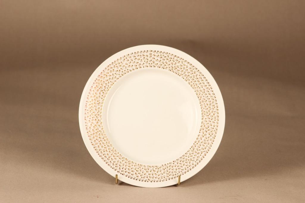 Arabia Kimmel salaattilautanen, valkoinen, kulta, suunnittelija Esteri Tomula, kukka