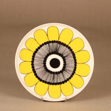 Marimekko Kestit lautanen, keltainen, musta, suunnittelija Maija Louekari, kukka
