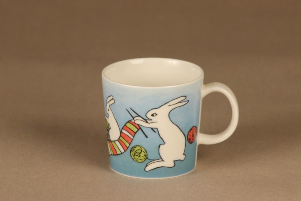 Arabia Knitting bunnies mug, 3 dl designer Heljä Liukko-Sundström