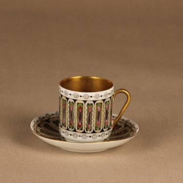 Arabia Hillevi mocca cup, hand-painted Esteri Tomula