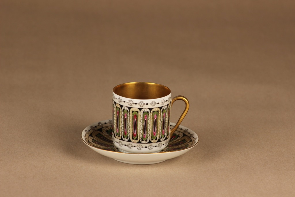 Arabia Hillevi mocca cup, hand-painted Esteri Tomula
