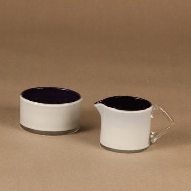 Riihimäen lasi Black and White sokerikko ja kermakko, musta, valkoinen, suunnittelija Nanny Still,