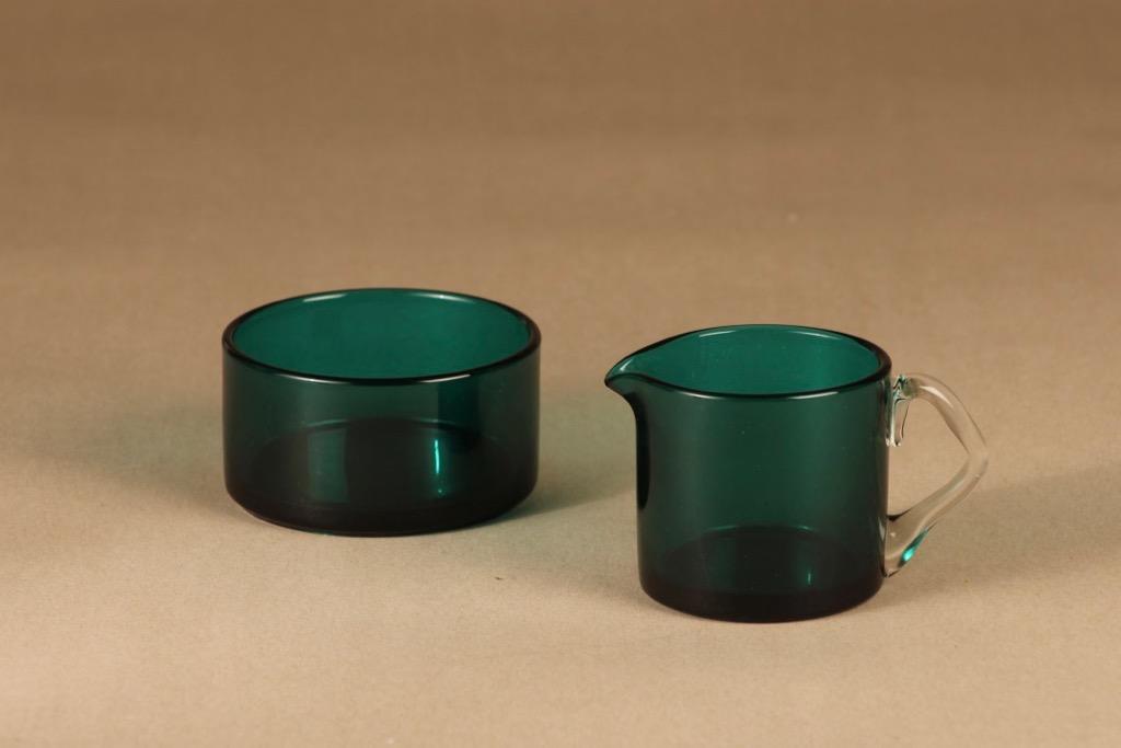 Riihimäen lasi Rosso sugar bowl and creamer  designer Nanny Still