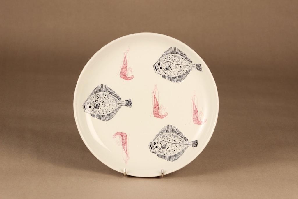 Arabia Ahti lautanen, punainen, musta, suunnittelija , serikuva, kala