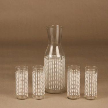Riihimäen lasi 1799 karahvi ja 4 lasia, kirkas, valkoinen, 5 kpl, suunnittelija Helena Tynell,