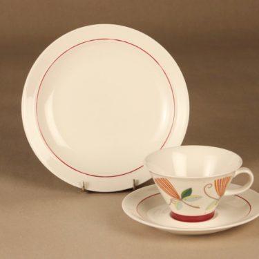 Arabia Harlekin Carneval tea cup and plates(2) designer  Inkeri Leivo