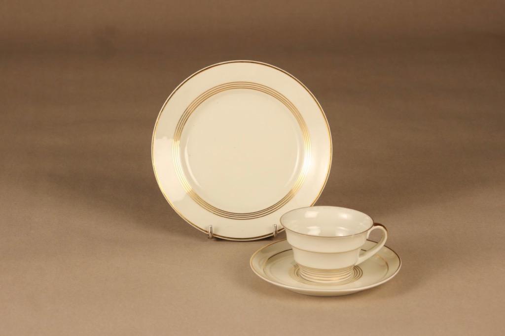Arabia Raitakulta coffee cup and plates(2) designer Greta-Lisa Jäderholm-Snellman