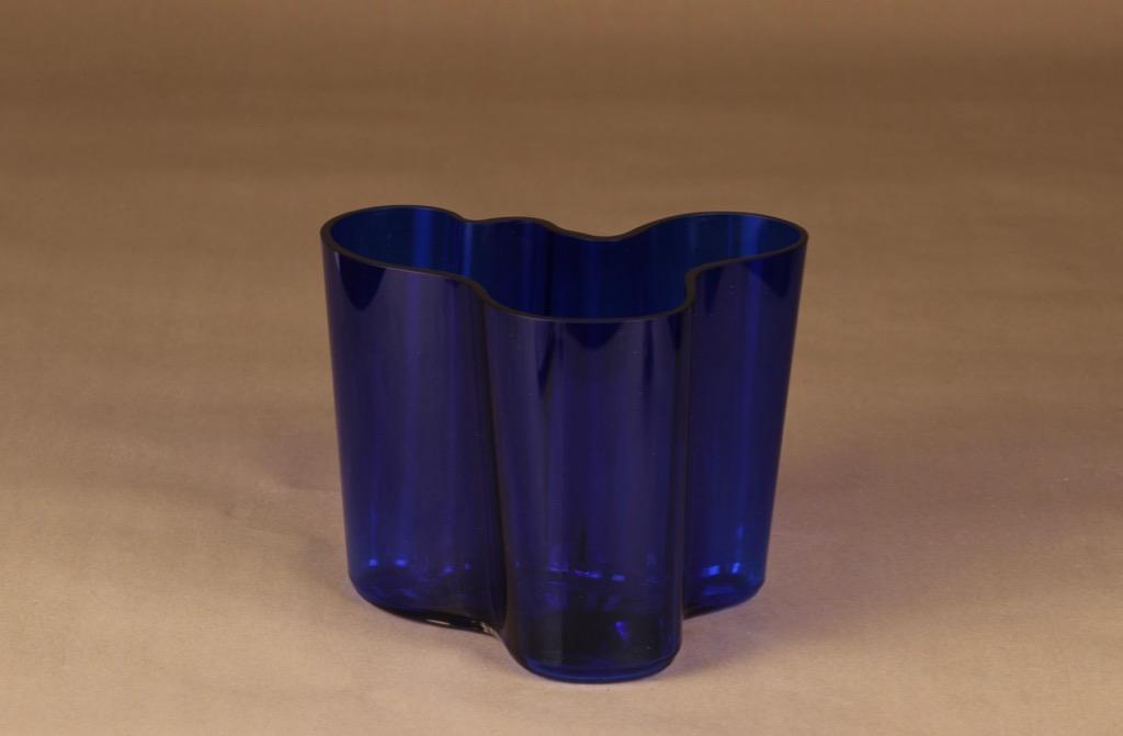 Iittala Aalto Collection cobalt blue vase designer Alvar Aalto