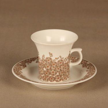 Arabia Veronica kahvikuppi, ruskea, suunnittelija Inkeri Leivo, kukka, retro