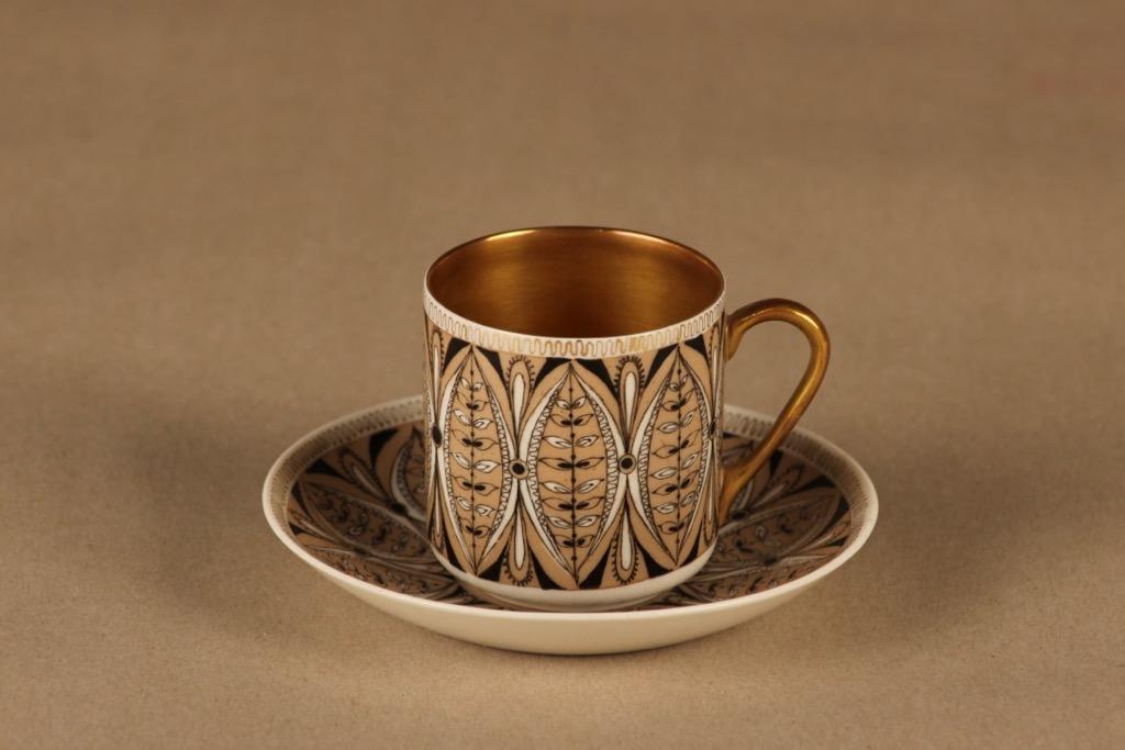 Arabia Milla mocca cup, hand-painted designer Esteri Tomula