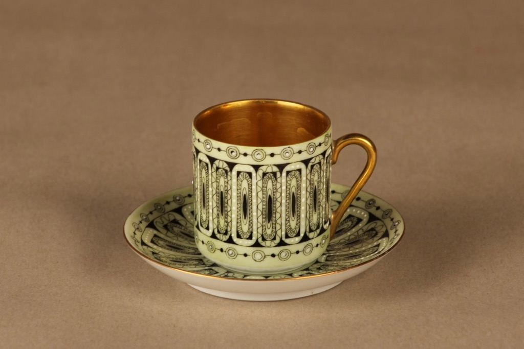 Arabia Hillevi mocca cup, hand-painted designer Esteri Tomula