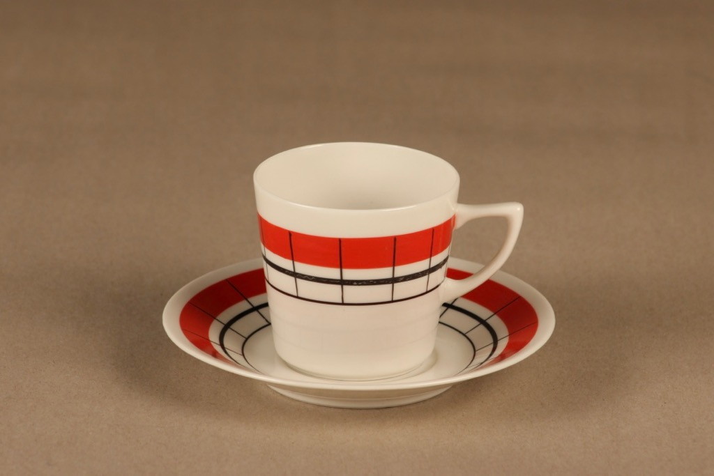 Arabia Verkko coffee cup, hand-painted designer Esteri Tomula