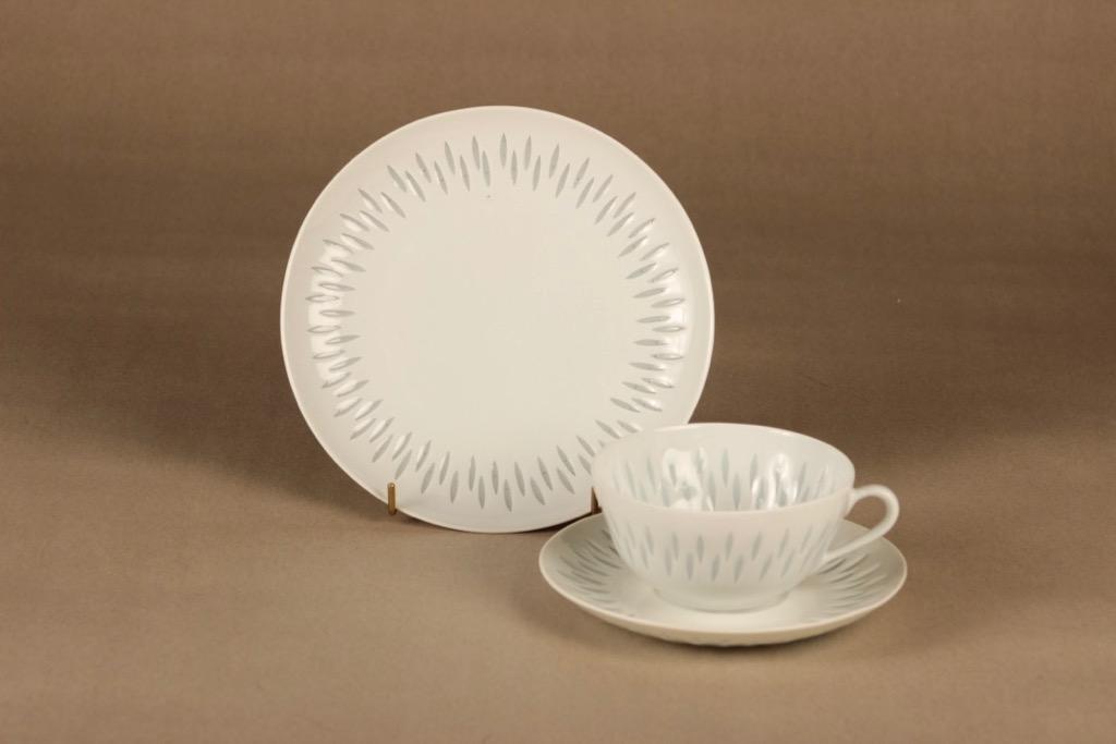 Arabia Rice porcelain tea cup and plates (2) designer Friedl Holzer-Kjellberg