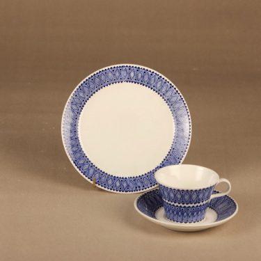 Arabia Lobelia coffee cup and plates (2) designer Esteri Tomula